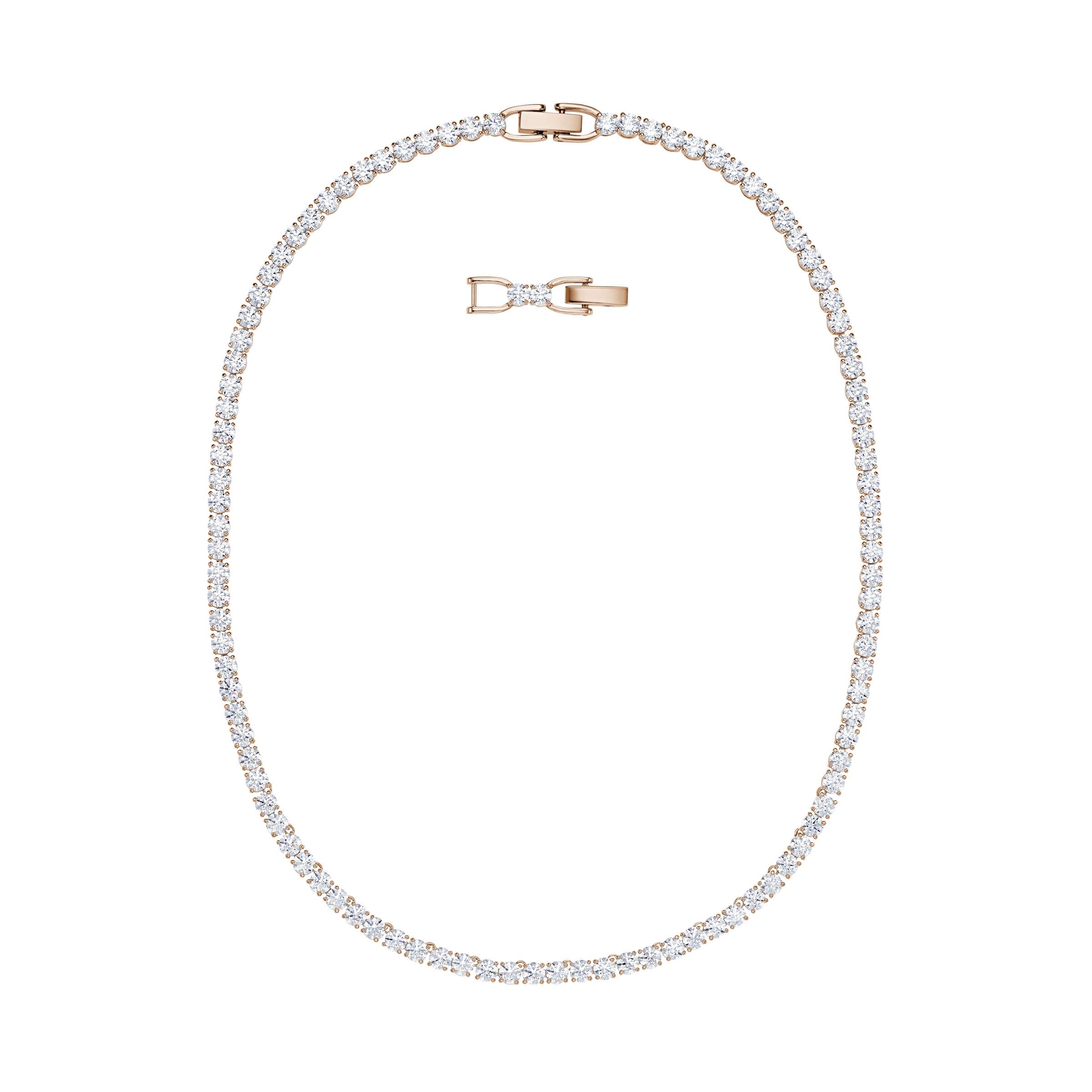 Swarovski naszyjnik Tennis różowe złoto 5494607