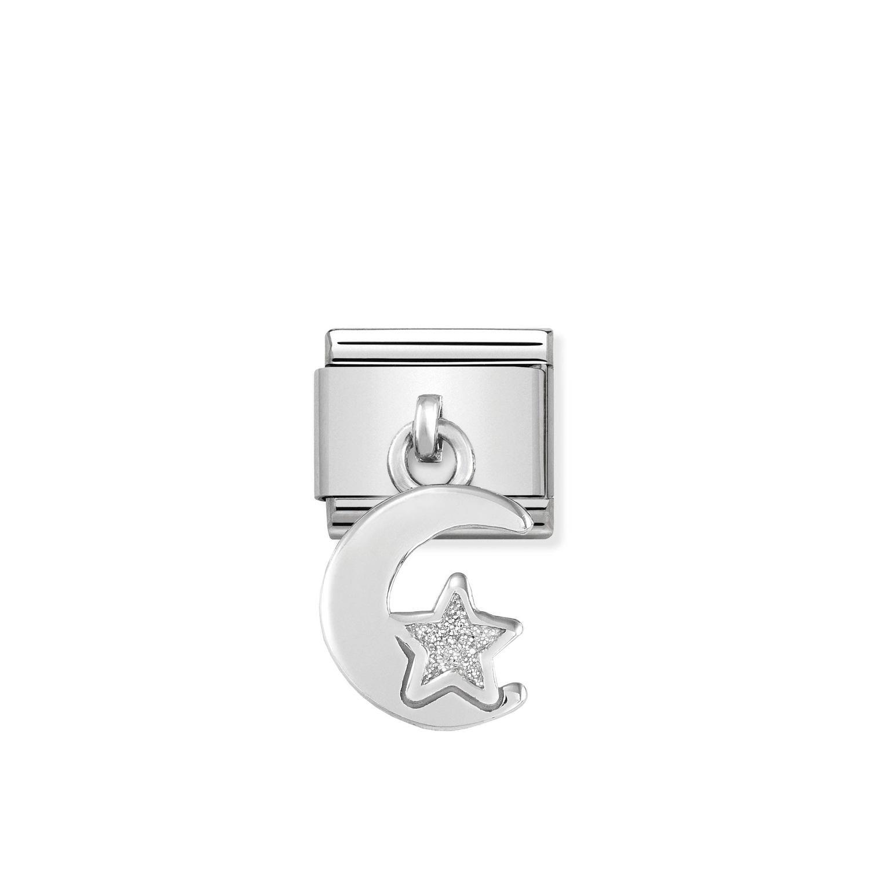 Composable Silver Charms Księżyc z brokatową gwiazdką 331805/05