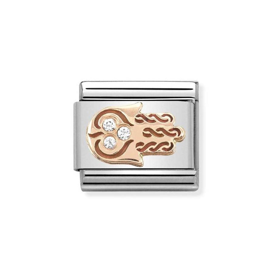 Composable Rose Gold Dłoń Fatimy z białymi cyrkoniami 430305/33